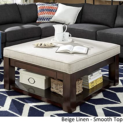 Admirable Inspire Q Lennon Espresso Square Storage Ottoman Coffee Table By Classic Beige Linen Smooth Top Cjindustries Chair Design For Home Cjindustriesco
