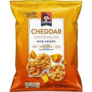Quaker Rice Crisps, Gluten Free, Cheddar, 6.06oz Bags, 6 Count