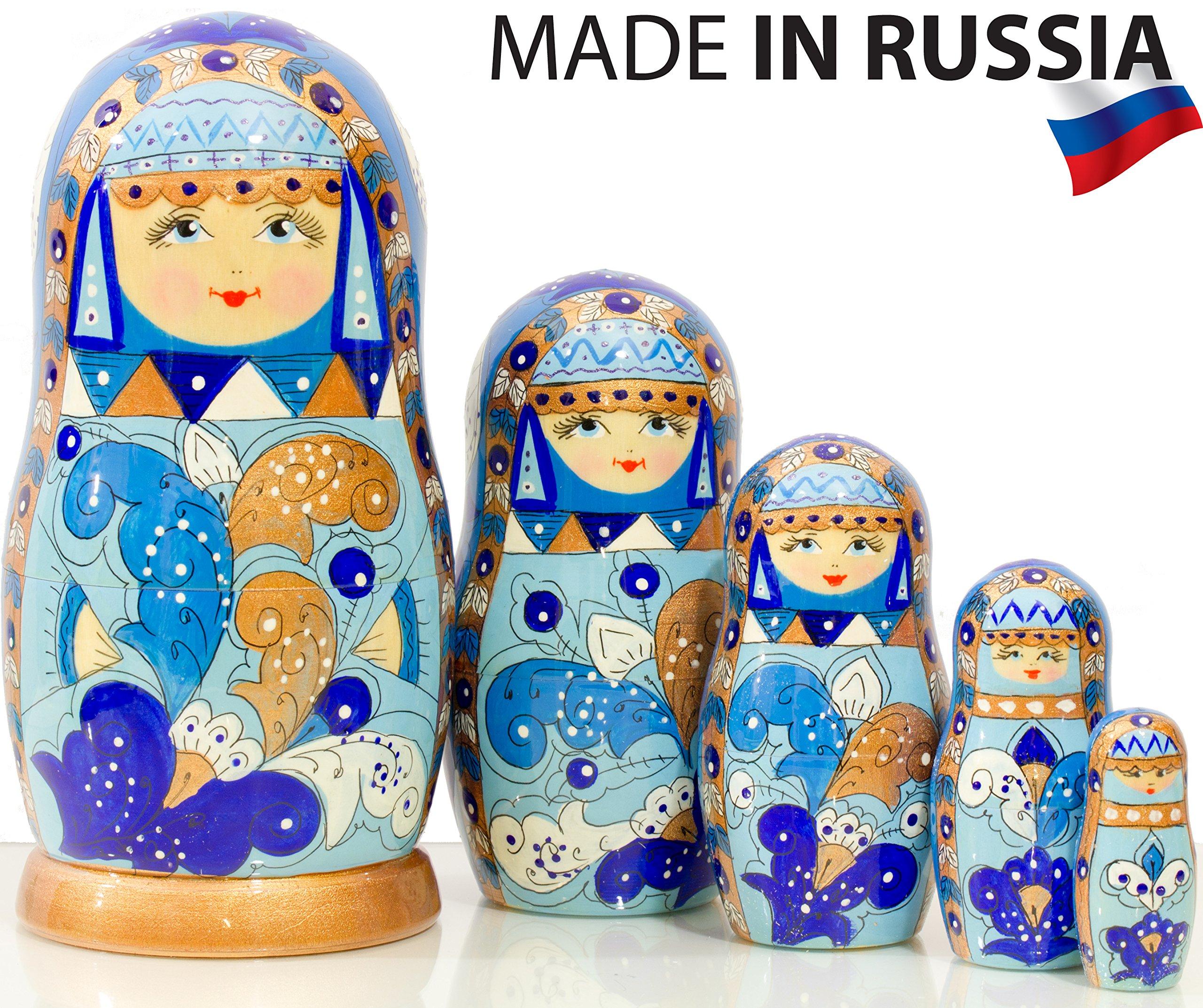 Russian Nesting Doll - Snow Queen - Hand Painted in Russia - Medium Size - Traditional Matryoshka Babushka (6.75`` (5 Dolls in 1), Blue) (6.75`` (5 Dolls in 1), Gzhel)