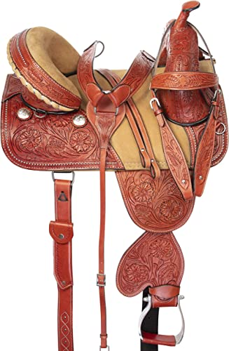 Acerugs 14 15 16 17 18 Western Barrel Racing Racer Pleasure Trail Horse Leather Show Saddle Hand Carved Tooled