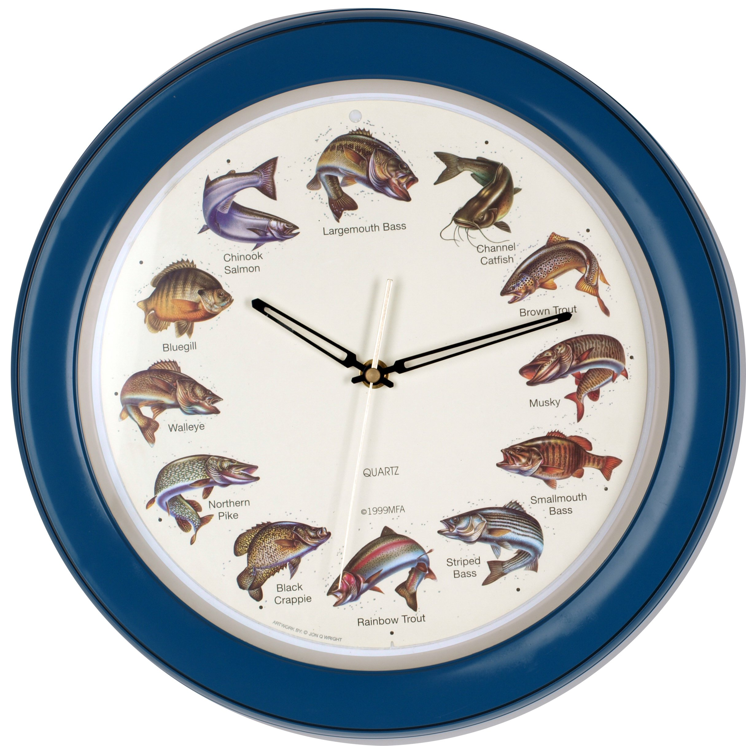 14-inch Unique Animals Family Quality Wall Clock Silent Non-ticking Movement, Home Decor (W85034 Fishes) by ISHIWA