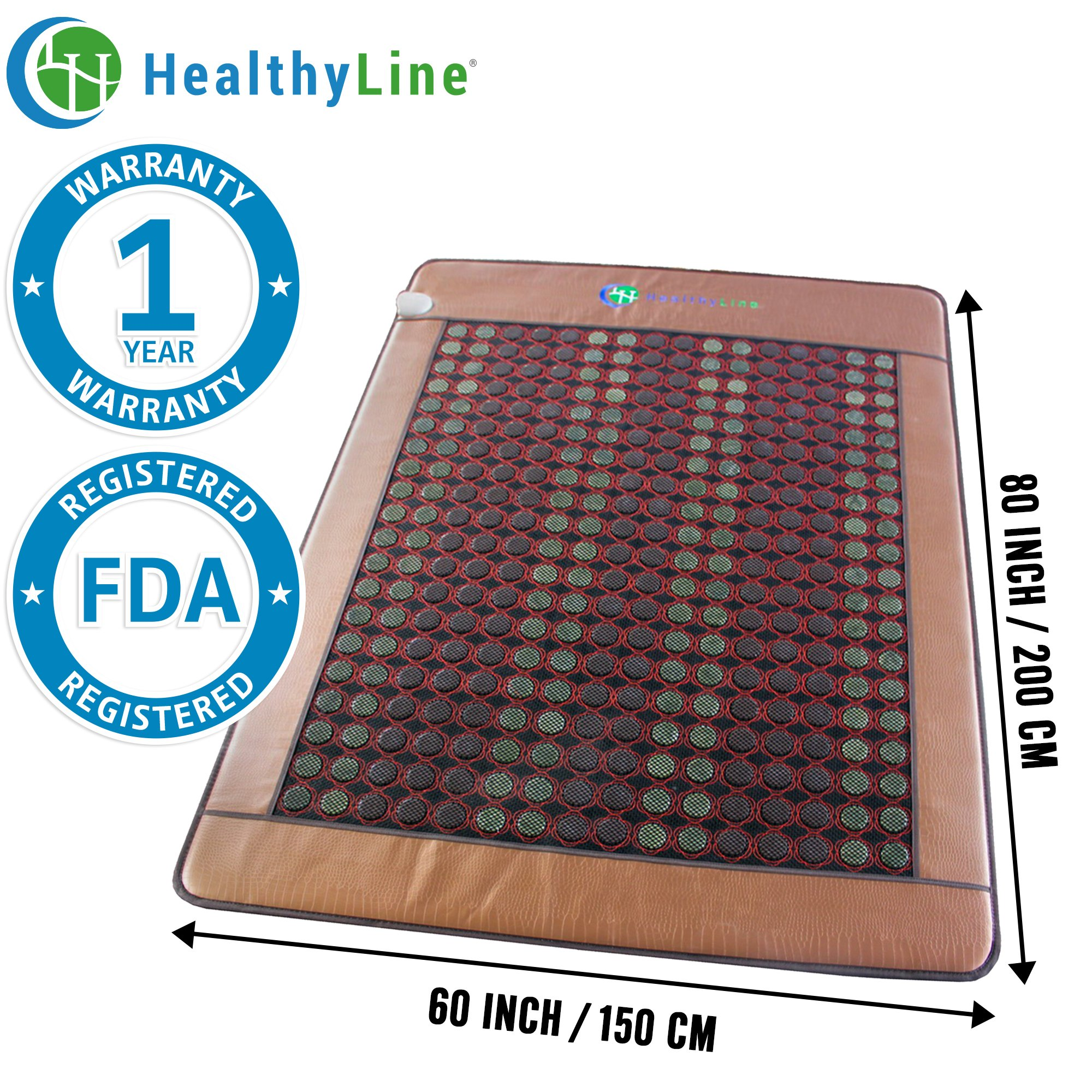 HealthyLine Far Infrared Heating Mat|Natural Jade & Tourmaline Healing Mat 80'' x 60'' |​​​​​ ​Heated Negative Ions (Queen & Firm) | Detox, Relieve Pain, Stress & Insomnia | FDA Registered