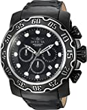 Invicta Men's 'Lupah' Quartz Stainless Steel and Leather Casual Watch, Color:Black (Model: 22485)