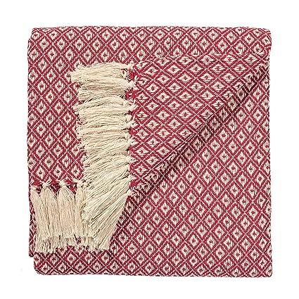 The Indian Arts Comercio Justo Suave Tejido a Mano Colcha sofá o sofás Manta Rojo Diamantes patrón de Tejido 100% algodón 130 x 180 cm th136rd