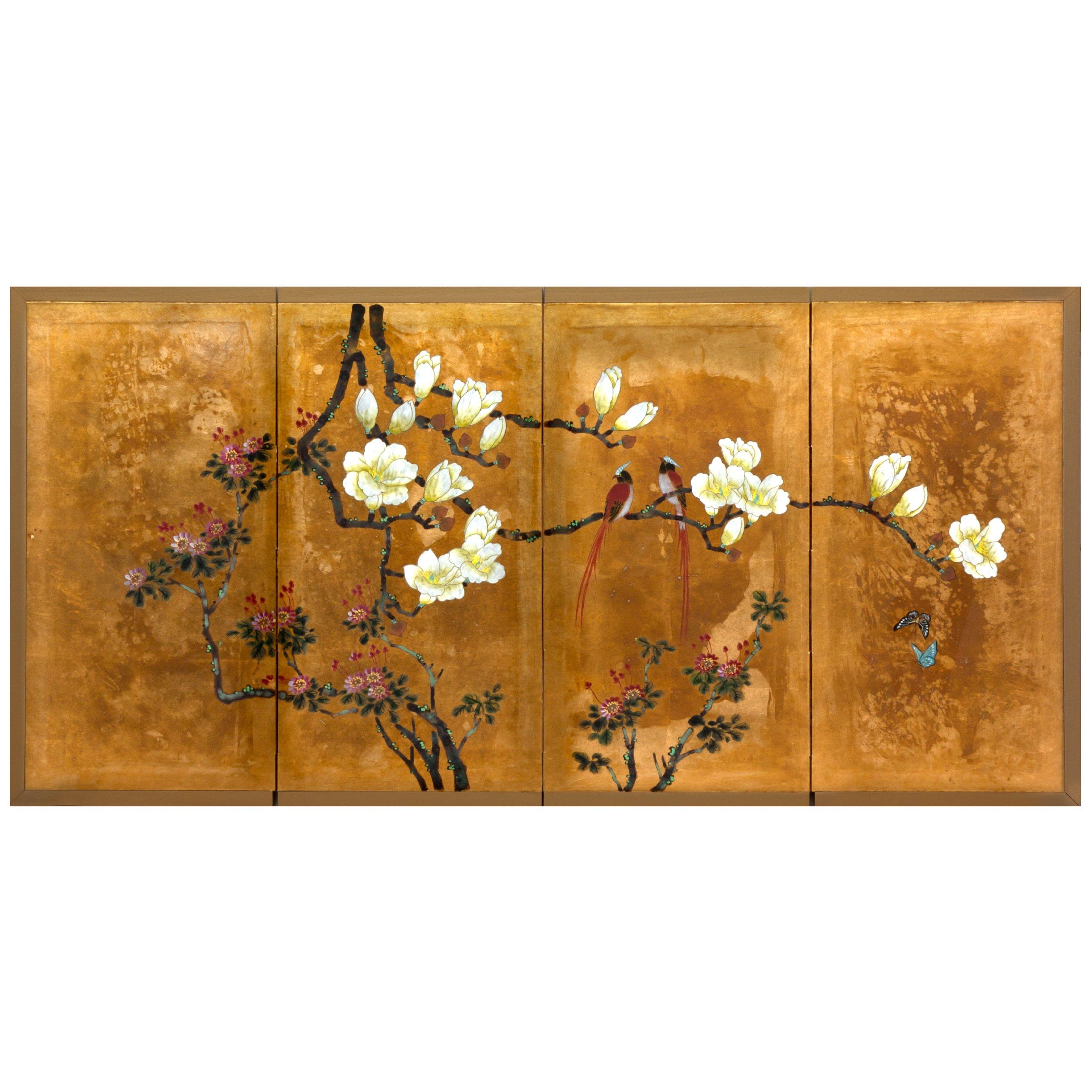 Oriental Furniture SILK-LOVEBG Love Birds on Traditional Gold Leaf