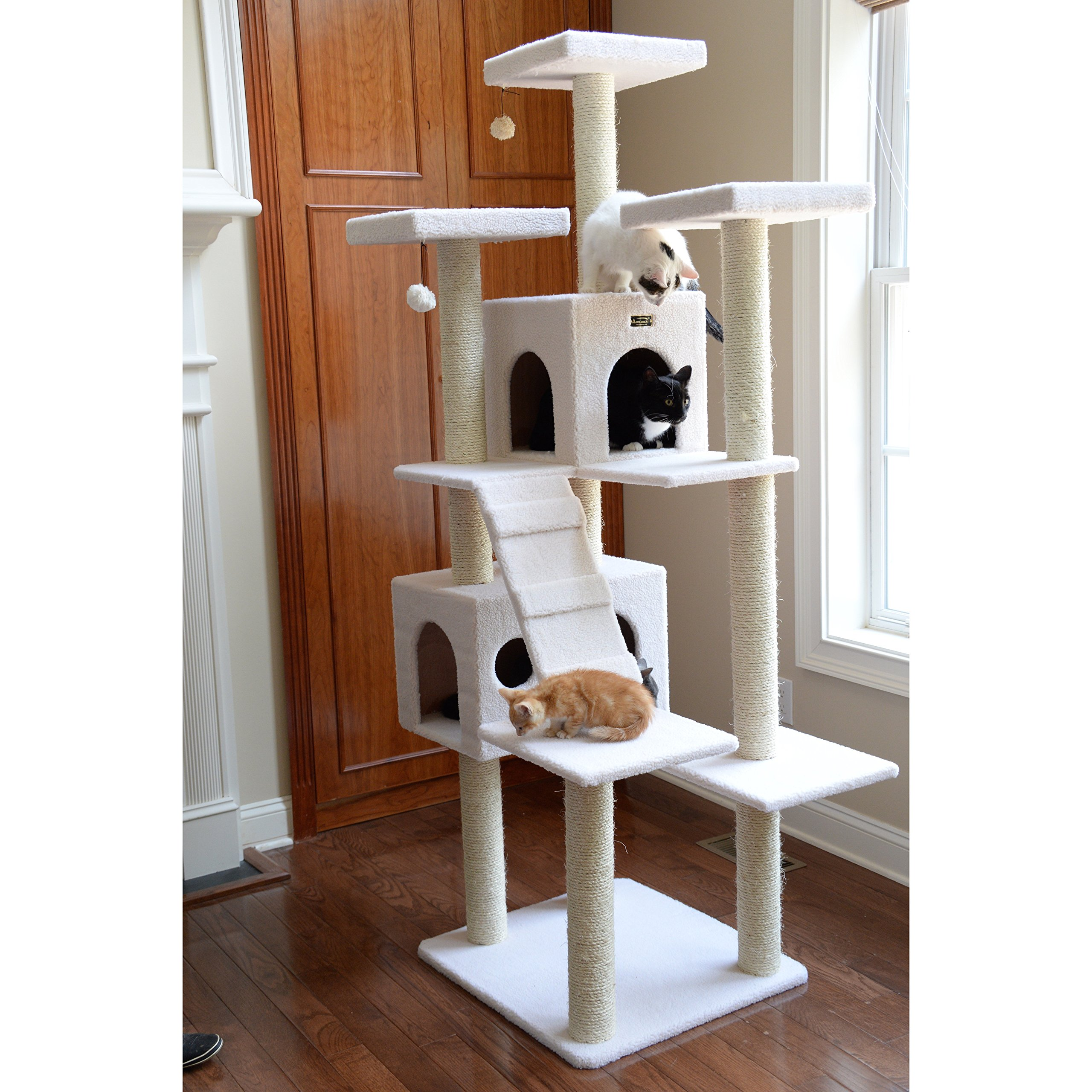 Beige Deluxe 77 Classic Tower Condo House Cat Tree Climbing Scratcher Covered with faux fleece posts are wrapped in 100% cured sisal 77''Hx31''Wx36''D 10 Scratching Pad Capacity 80lb 6 month Warranty