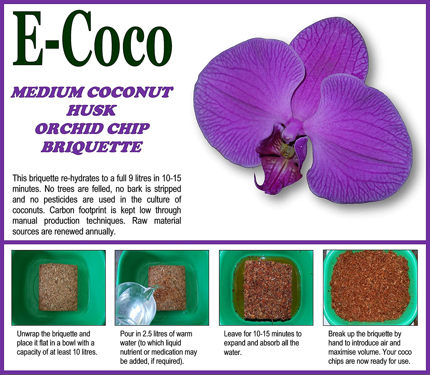 ORCHIDS COMPOST MEDIUM GRADE FOR ORCHID PLANTS POTTING OR RE-POTTING - ORCHID BARK SUBSTITUTE - COMPRESSED BRIQUETTE (9 LITRES) E-Coco Products UK