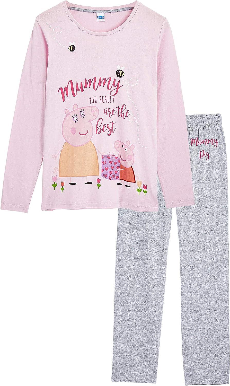 Baumwolle Frauen Kleidung Peppa Pig Schlafanzug Damen Lang Geschenke f/ür Frauen Hausanzug Damen mit Peppa Wutz Pyjama Damen 2-teilige Set Langarm T Shirt und Schlafhose