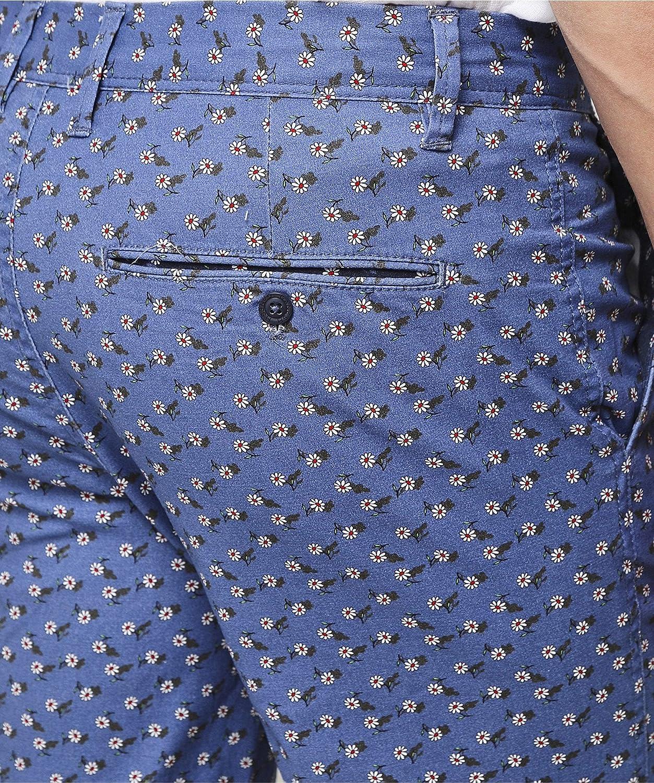 Ganesh Mens Regular Fit Daisy Print Shorts Dark Blue