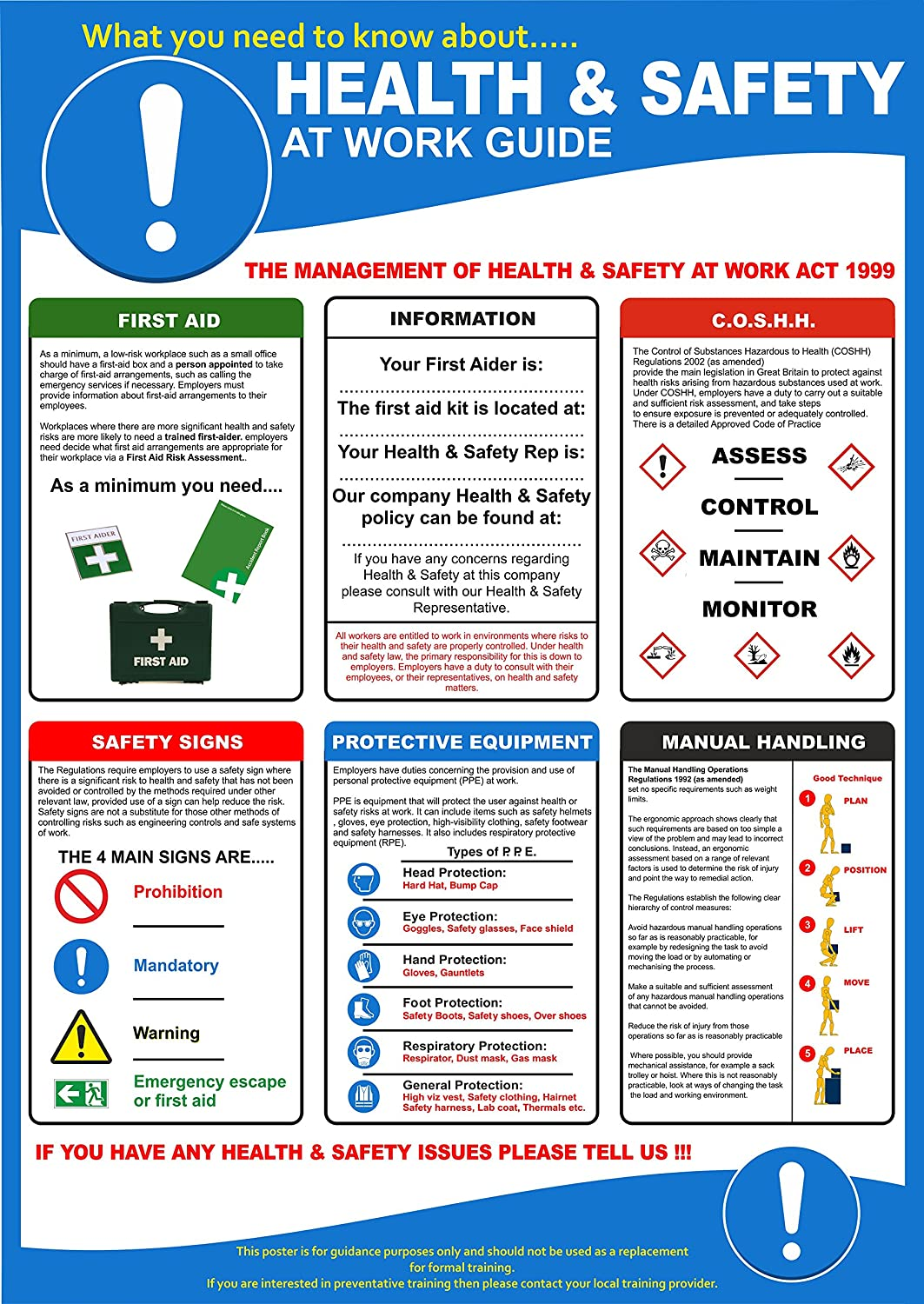 Health and Safety At Work Poster 420x595mm (P5004): Amazon.co.uk ...