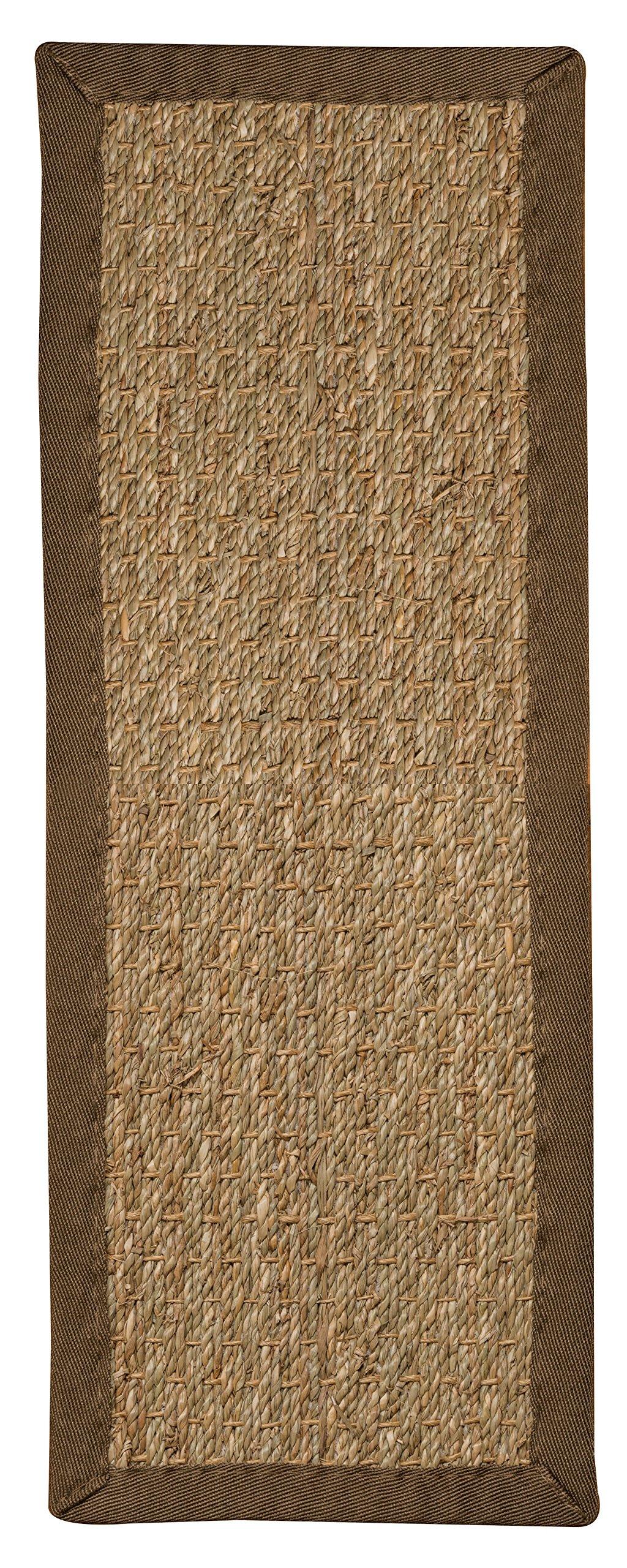 Natural Area Rugs 100% Natural Fiber Half Panama, Seagrass Sage, Handmade Stair Treads Carpet Set of 13 (9''x29'') Malt Border