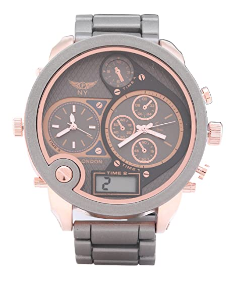 Los hombres s tiempo Triple diseño gris y oro rosa Correa Metal reloj cuarzo