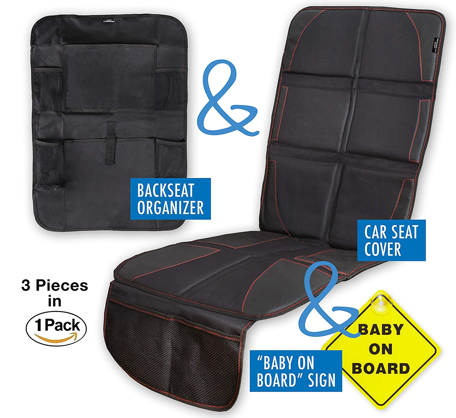 Car Seat Protector with Thick Padding for Under Baby Booster + Backseat Organizer& Kick Mat Protector with 5 Pockets, iPad and Tablet Holder + Baby on Board Sign car-organizer