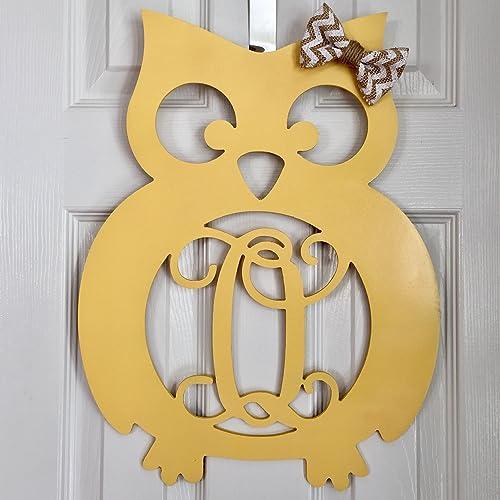Amazon.com: Monogram Owl Nursery Wall Hanger - Country Kid\'s Room ...