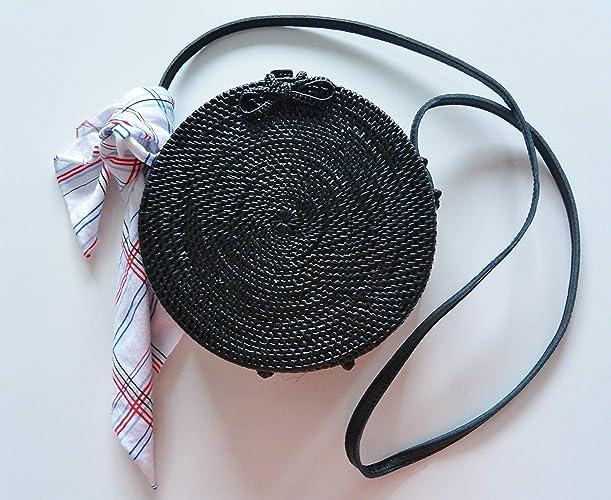 0f5111f2a Bolso Redondo Rattan Negro Rebajas: Amazon.es: Handmade