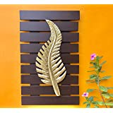 Maple Craft Curve BrownLeaf Wall Art -Brass Wood for Home Decor/Living Room/Bed Room (10x16 Gold Brown)
