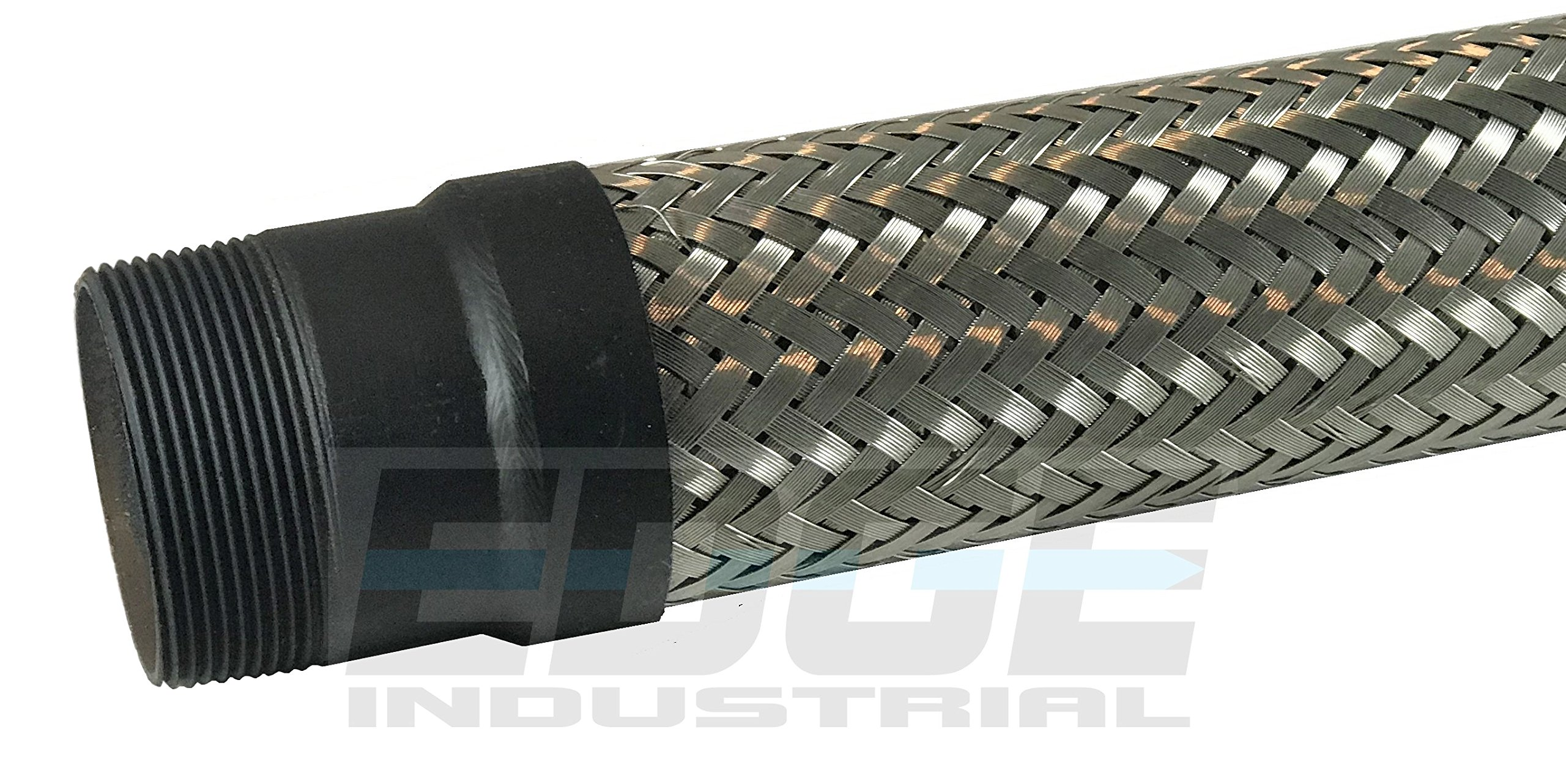 INDUSTRIAL GRADE HEAVY DUTY FLEXIBLE METAL HOSE CONNECTOR ( MADE IN USA ) 2'' MALE NPT ENDS x 12 inch TOTAL LENGTH STAINLESS STEEL BRAIDED FLEX
