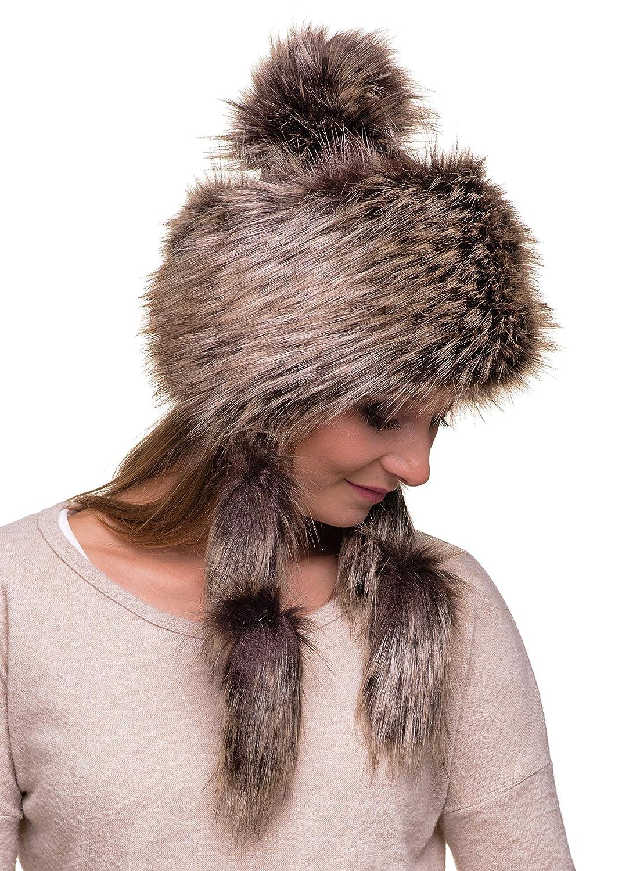Futrzane Mongolian Faux Fox Fur Winter Hat for Women Russian Ski