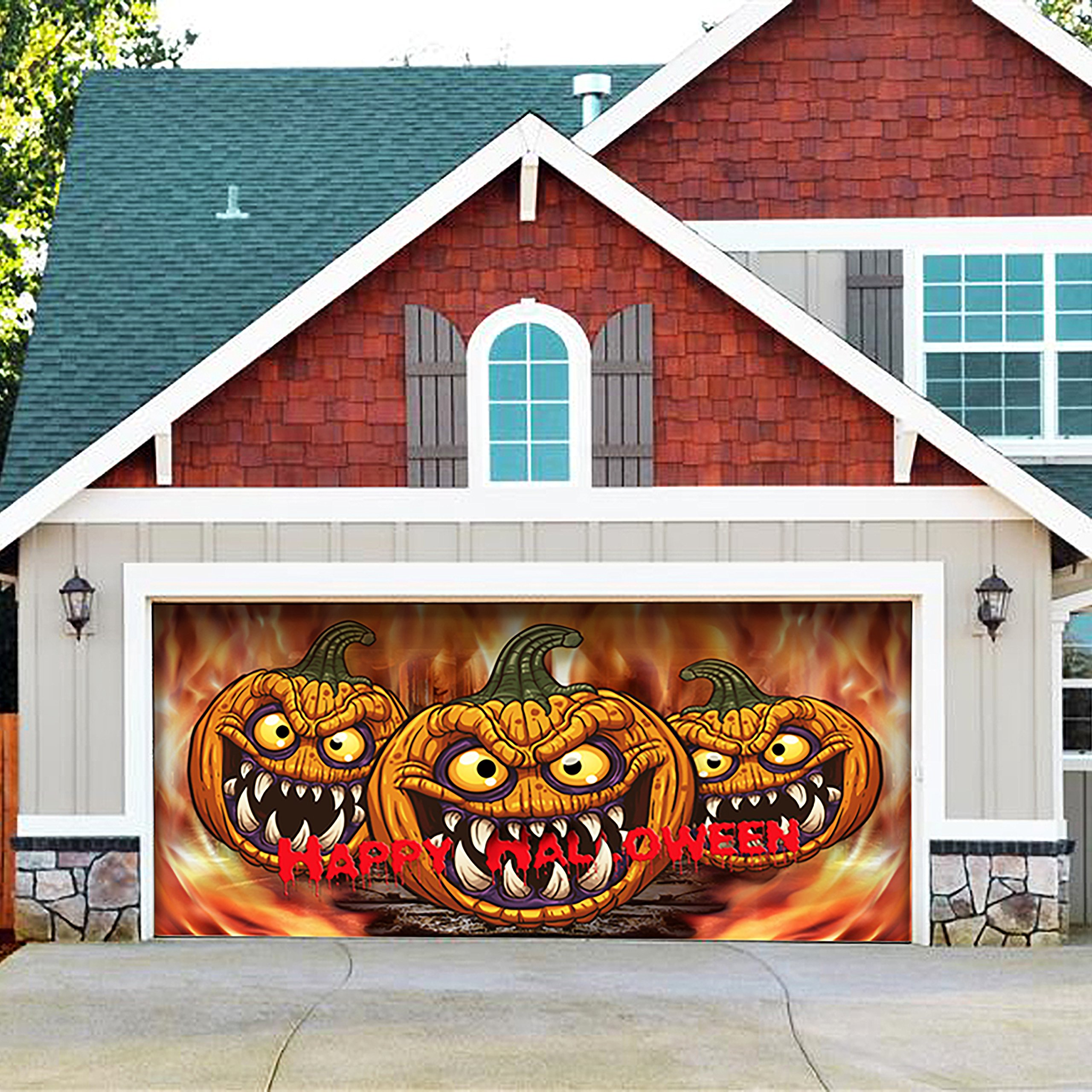 Outdoor Christmas Holiday Garage Door Banner Cover Mural Décoration 7'x16' - Three Scary Pumpkins Outdoor Halloween Garage Door Banner Décor Sign 7'x16' by Victory Corps