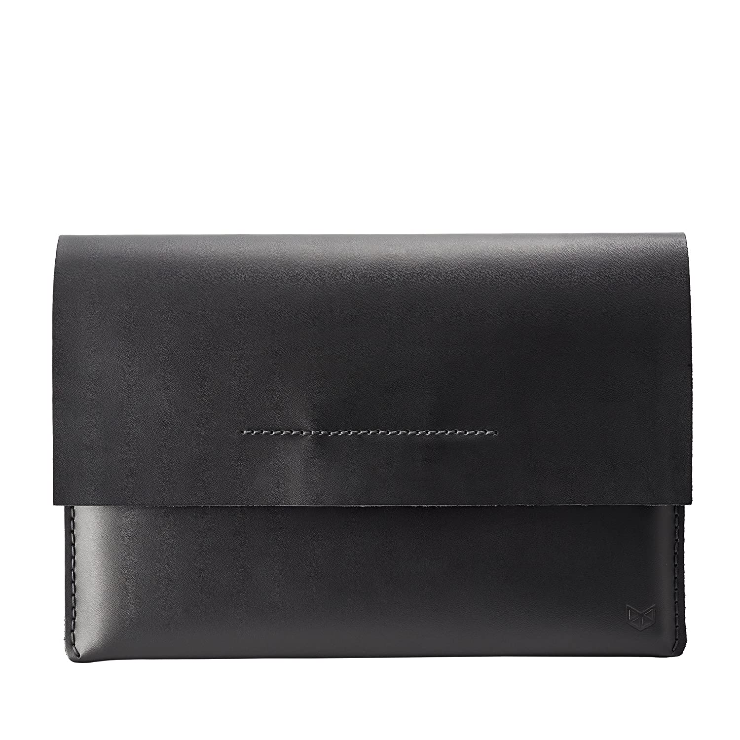Black Leather Travel Laptop Sleeve Bag Capra Leather ASUS ZenBook Pro Duo Sleeve Case for Men Mens Gift Protective ASUS Folio Cover