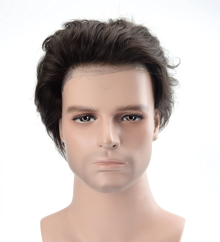 Amazon.com : Lordhair Hair Replacement Wig Hair Pieces Human Hair Skin Mens Toupee Black Color 1A# Cap Size 6X8 Toupee For Men : Beauty