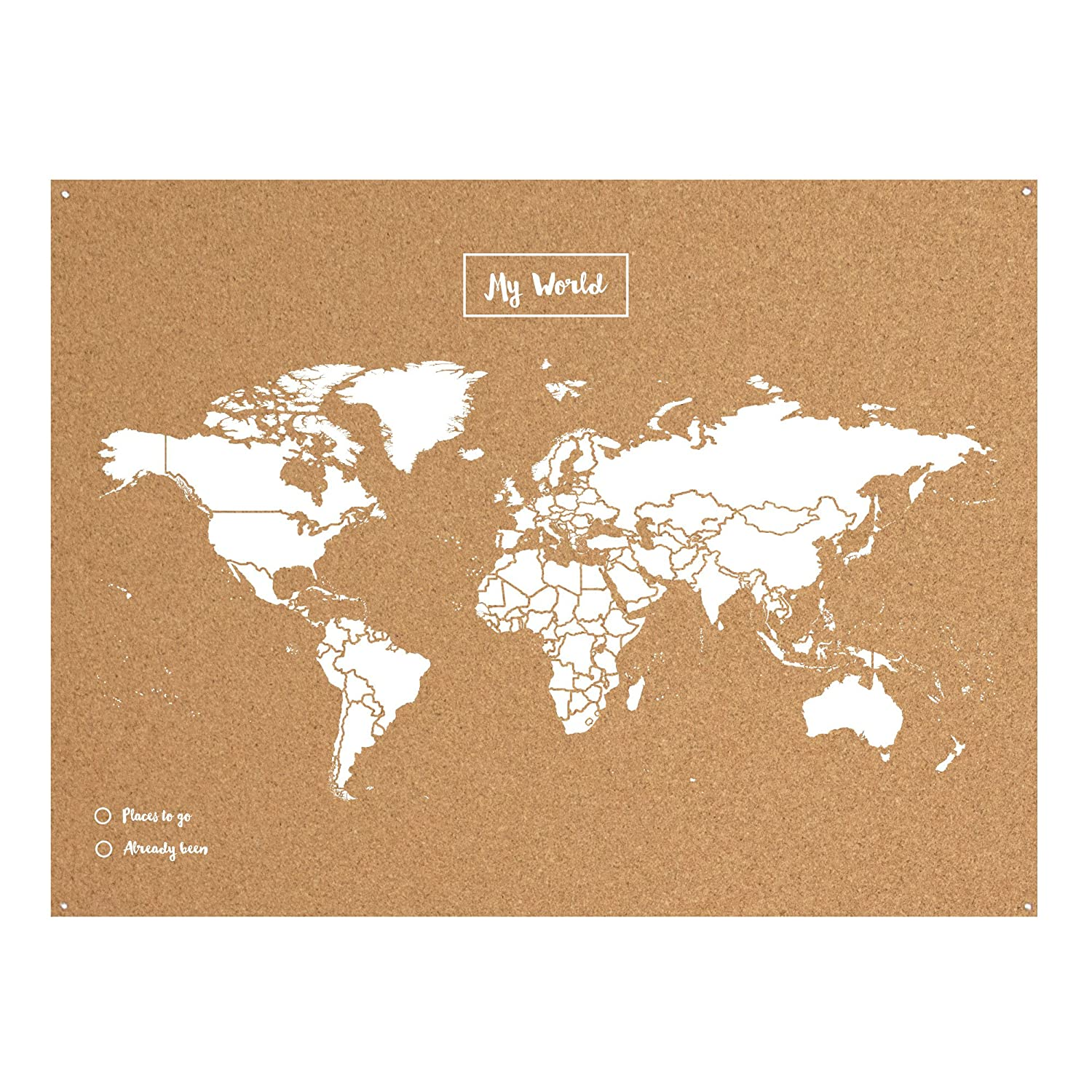 Miss Wood Map XL - Mapa del mundo de corcho, 60 x 90 cm, Blanco ...