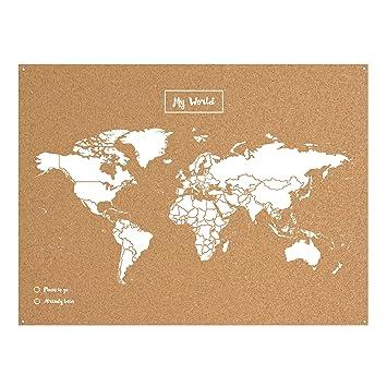 Miss Wood Map XL  Mapa del mundo de corcho color blanco Amazon
