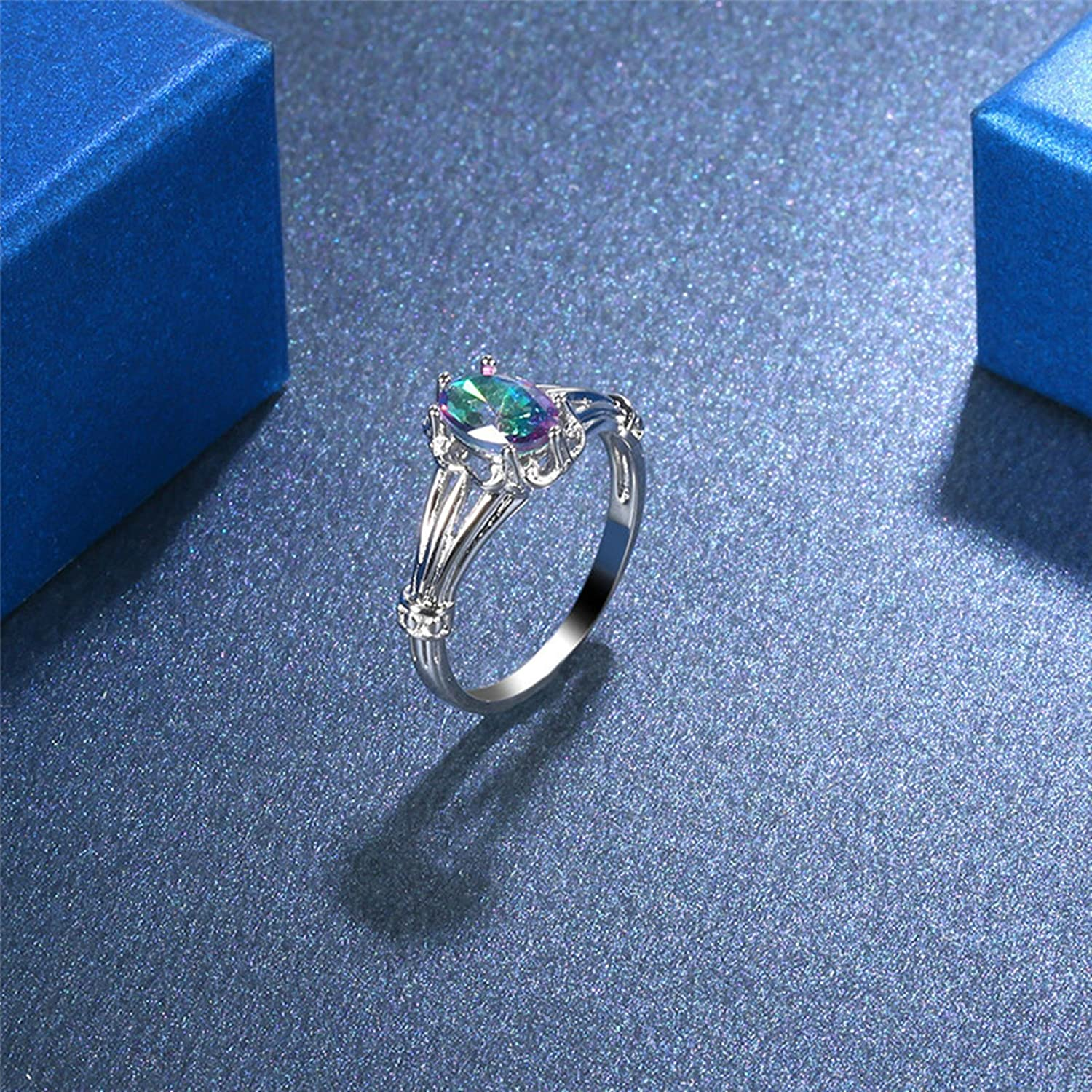 AMDXD Jewelry Silver Plated Engagement Rings for Women Shiny Colorful Oval Crystal