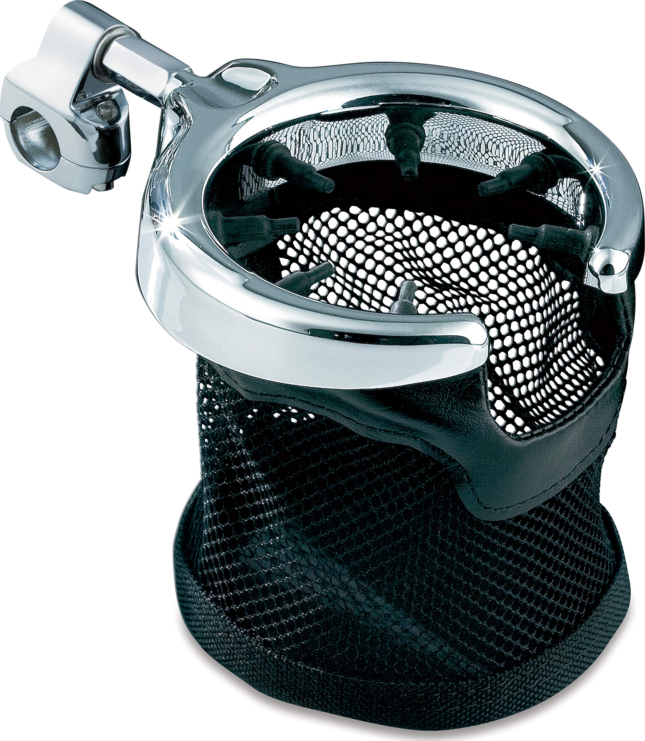 Kuryakyn 1484 Motorcycle Accessory: Passenger Drink/Cup Holder with Mesh Basket for Harley-Davidson Motorcycles with 1/2'' Diameter Grab Rail, Chrome
