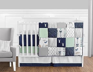 sweet jojo designs 9piece navy blue mint and grey woodsy deer boys baby