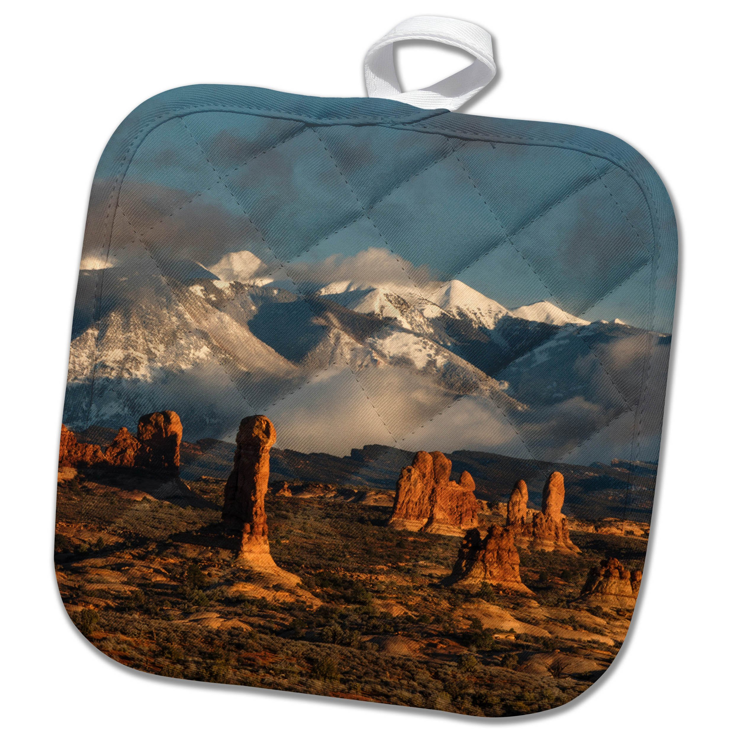 3dRose Danita Delimont - Utah - Usa, Utah, Arches NP. Windows Section with La Sal Mountain range. - 8x8 Potholder (phl_260265_1)