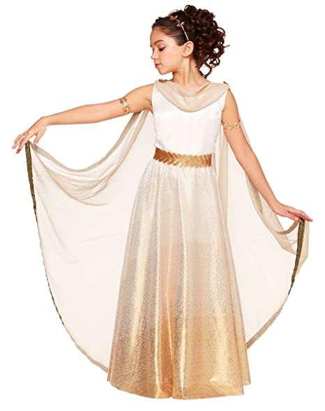 Spirit Halloween Kids Goddess Costume, White, Gold