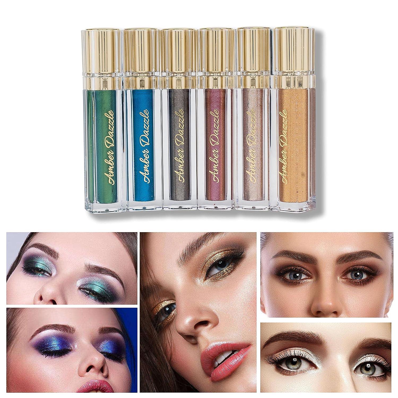 Amber Dazzle Glitter Liquid Eyeshadow – 6 Colors Set Ultra Long Lasting Vegan & Cruelty Free