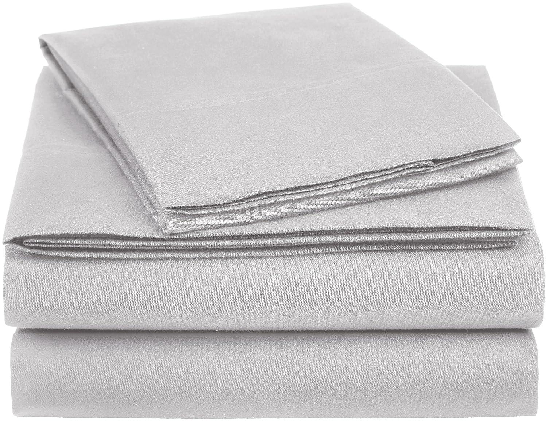 AmazonBasics Essential Cotton Blend Bed Sheet Set, Twin, Light Grey