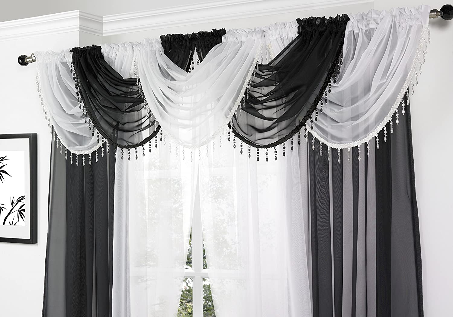 Black Voile Curtain Swag with Crystal Beaded Trim by Maple ...