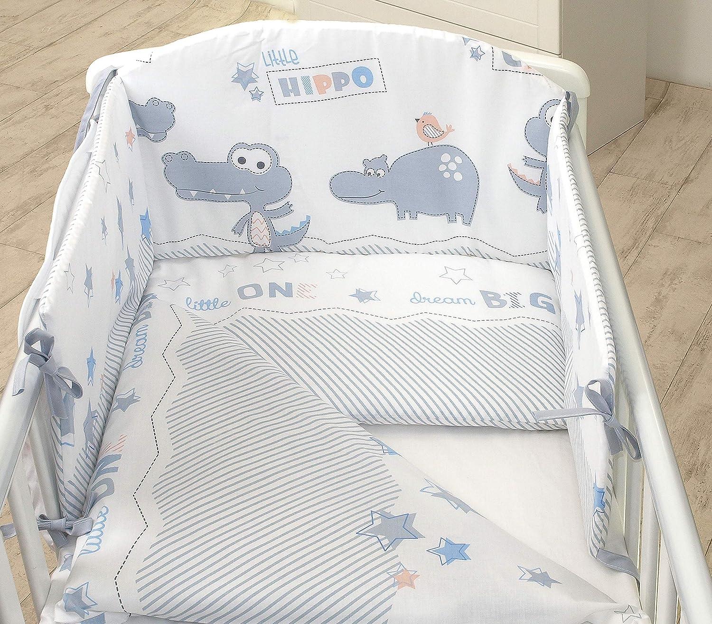 COT 120X60, Baby Elephant-Green Pillow CASE Bumper Duvet Cover 3PCS Baby Bedding Set fit Cot 120x60 or Cot Bed140x70CM
