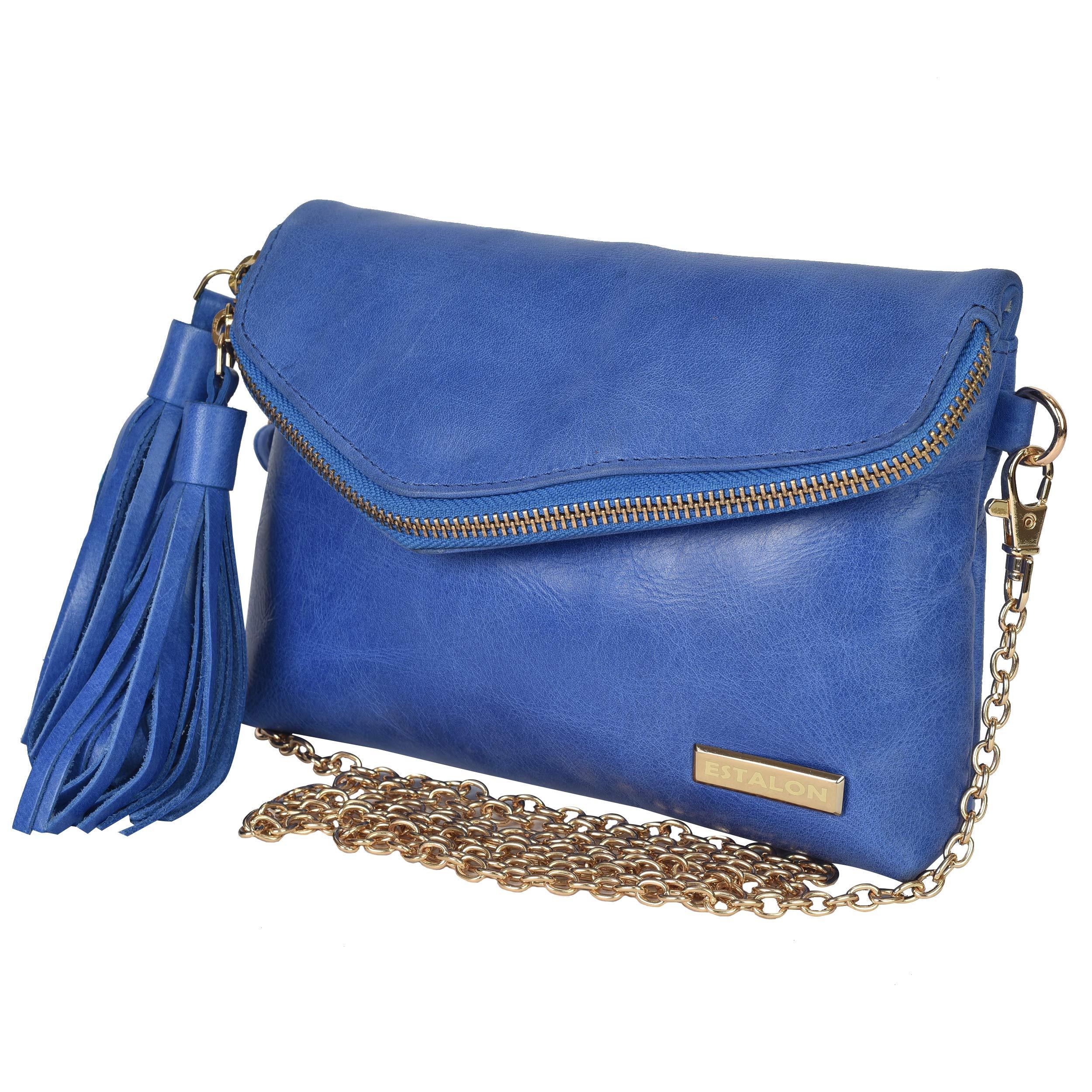 ec90be1b20d0 Leather Crossbody Bags for Women - Handmade Cross Body Bag Over the Shoulder  Purses Womens Handbag by Estalon (Blue Nappa)