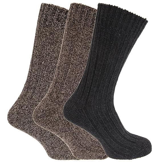 Calcetines gruesos térmicos con lana para botas hombre/caballero - Pack de 3 pares de