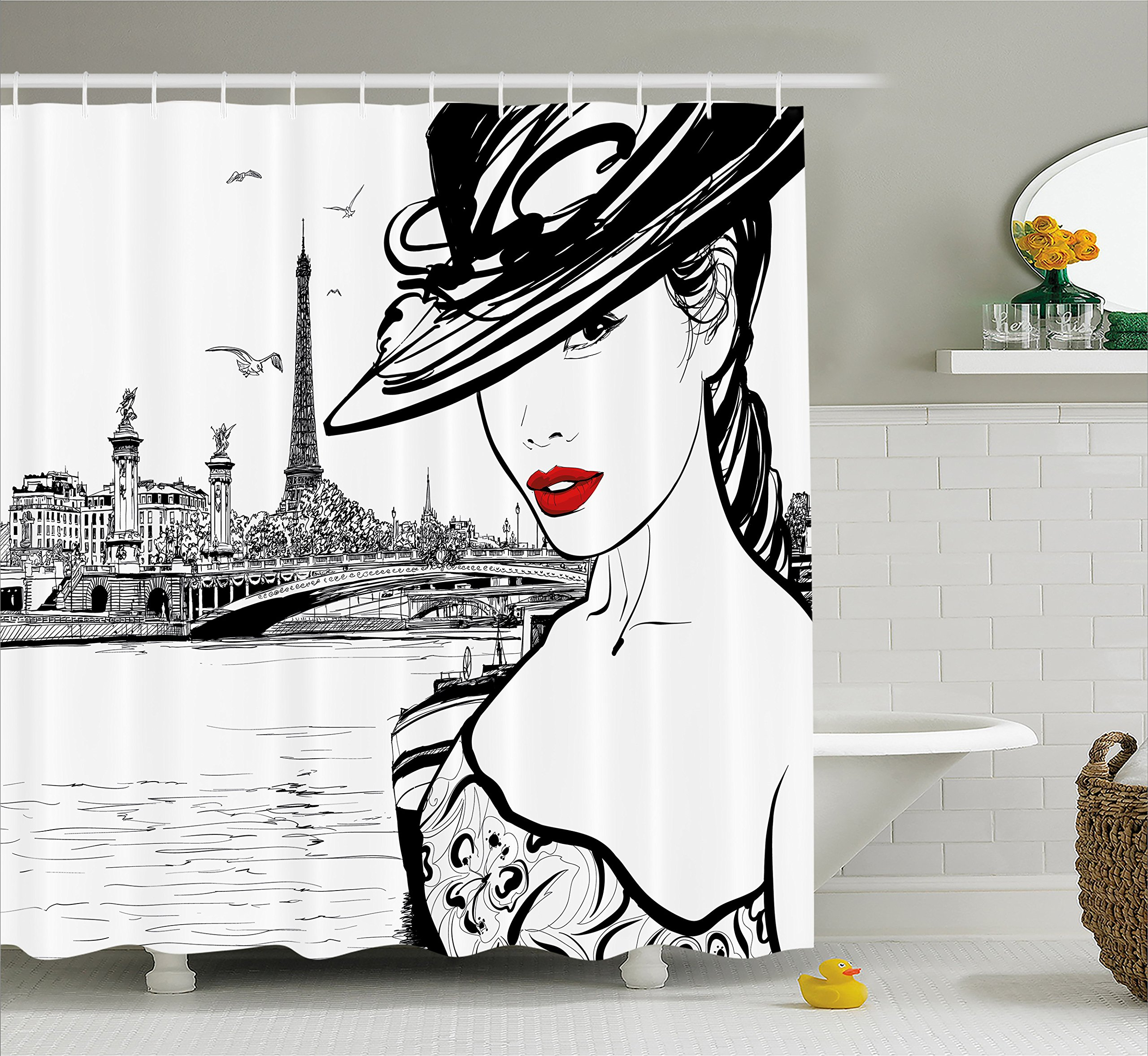 Fashion House Decor Shower Curtain by Ambesonne, Hand Drawn Girl in Makeup by Seine River in Paris European Life Image, Fabric Bathroom Decor Set with Hooks, 70 Inches, Black White