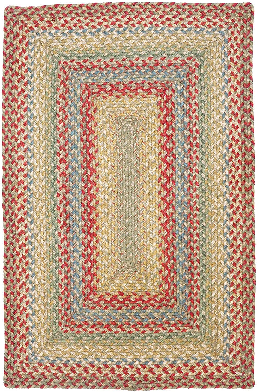 "Azalea Premium Jute Braided Area Rug by Homespice, 20"" x 30"" Rectangular Red - Tan - Beige - Blue, Reversible, Natural Jute Yarn Rustic, Country, Primitive, Farmhouse Style - 30 Day Risk Free Purchase"