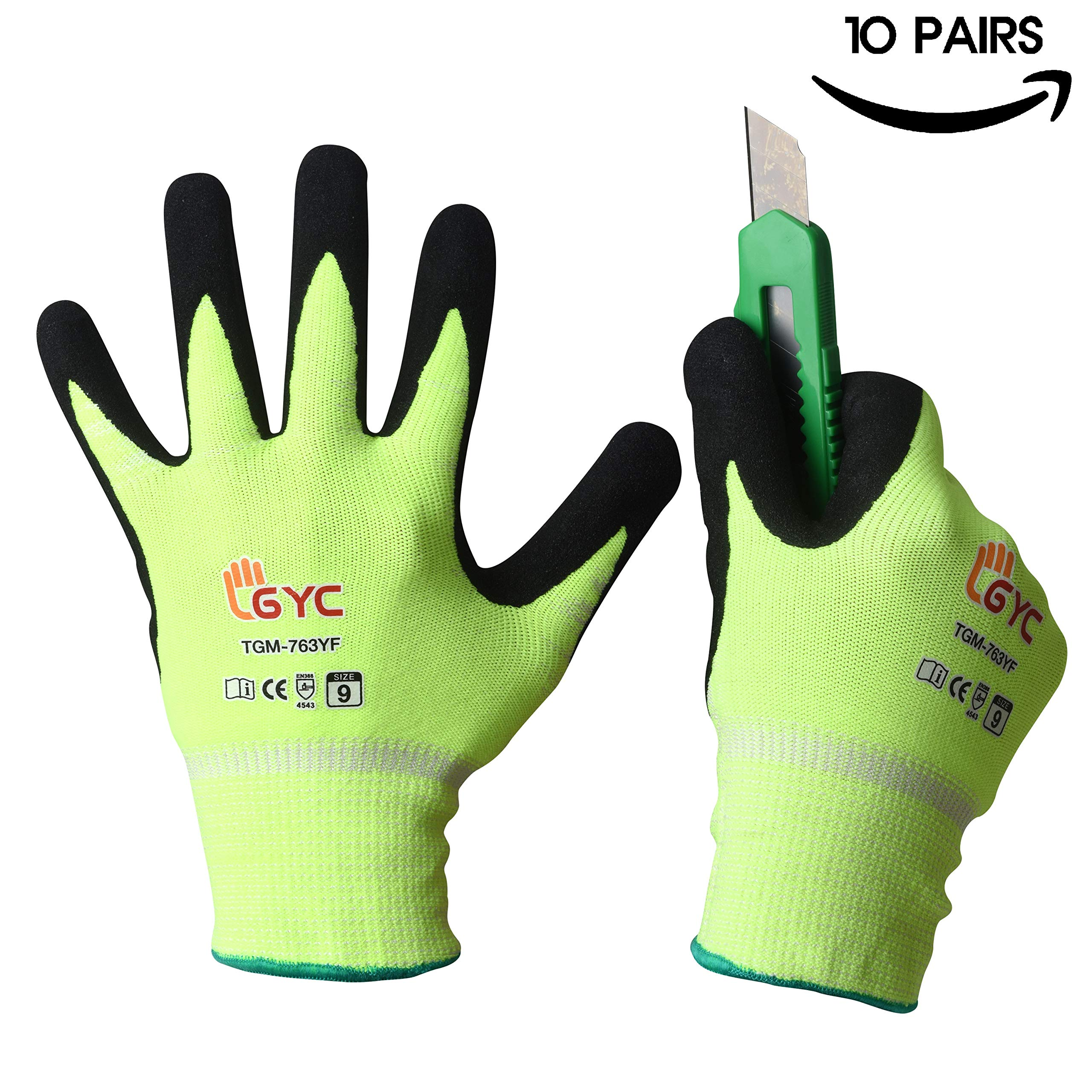 GYC Gloves Cut Resistant Gloves Safety Work Gloves - Level 5 Cut Protection, 10 Pairs Pack - High Performance Dexterity & Breathability, Comfortable(TGM-763YF/SIZE 9 - LARGE, 10 Pairs)