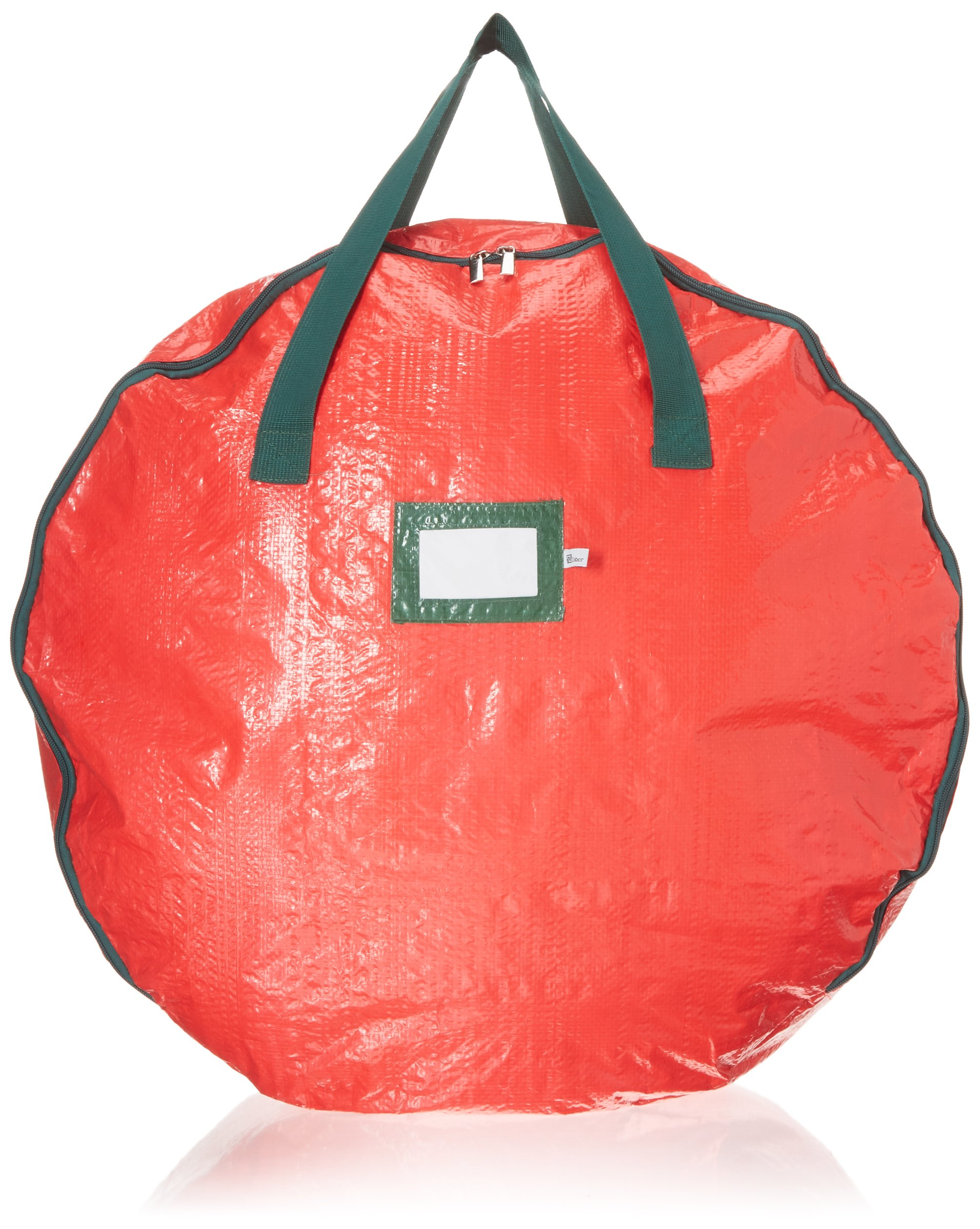 Christmas Wreath Storage Bag 24''-Tear Resistant Zippered Bag with Reinforced Handles -24 x 24 x 7 (RED)