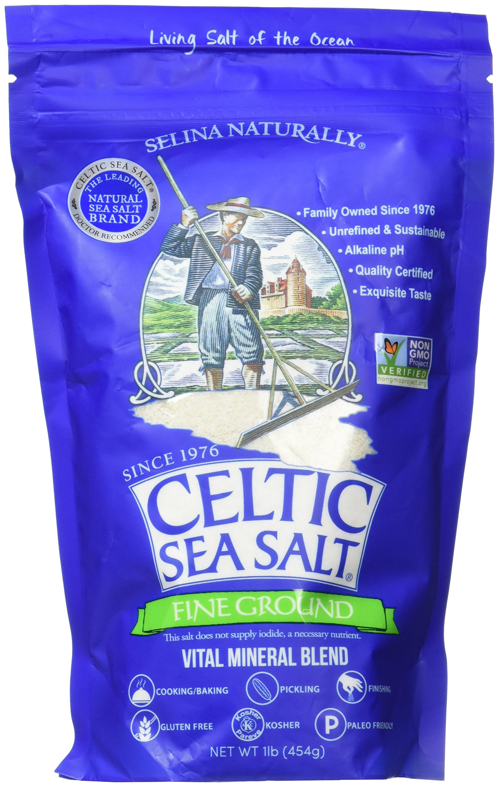 Fine Ground Celtic Sea Salt – (1) 16 Ounce Resealable Bag of Nutritious, Classic Sea Salt, Great for Cooking, Baking, Pantry-Friendly, Gluten-Free, Kosher and Paleo-Friendly