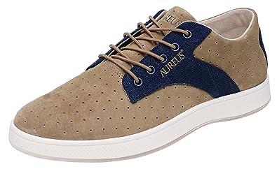 9a0306b539f6 Aureus Men s Taurus Khaki Navy Blue Nubuck Leather Low Top Shoe Size 9.5 ...