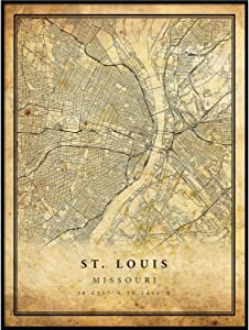 St. Louis map Vintage Style Poster Print | Old City Artwork Prints | Antique Style Home Decor | Missouri Wall Art Gift | map Art 16x20