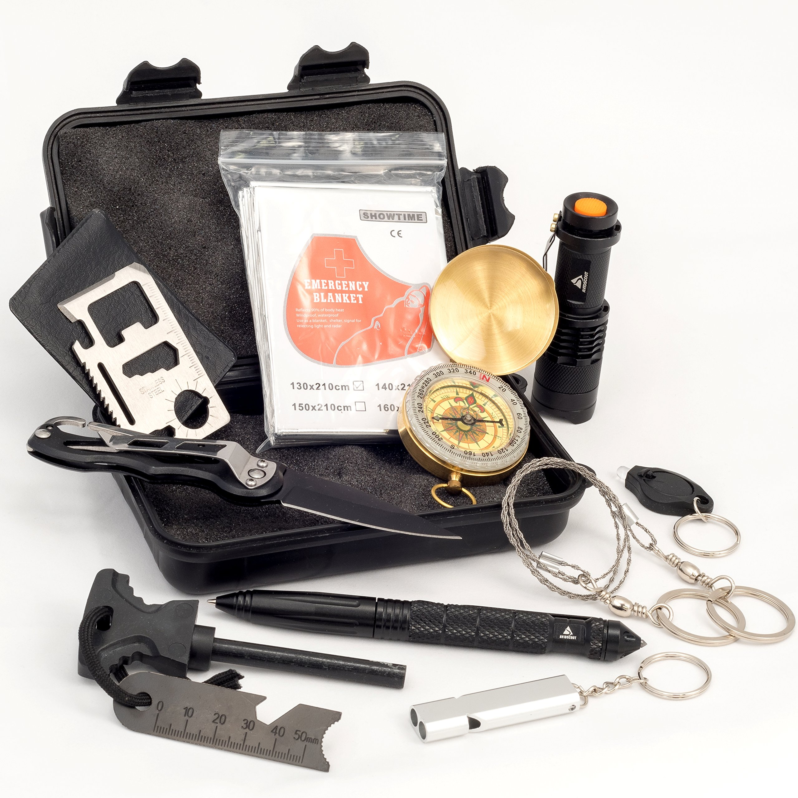 AvidScout 11-IN-1 EMERGENCY SURVIVAL KIT - Elite tactical military-style gear - Compact waterproof case set for men, women, and kids; for wilderness, hiking, camping, car, urban and EDC