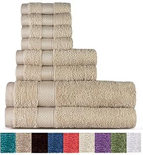 Welhome 100% algodón conjunto 8 pieza toalla (ropa); 2 toallas de baño