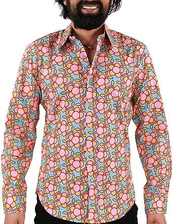 Chenaski - Camisa de los años 70, diseño de flores, color azul claro