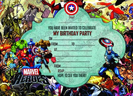 Boys Super Hero Marvel Birthday Party Superheroes Invitations