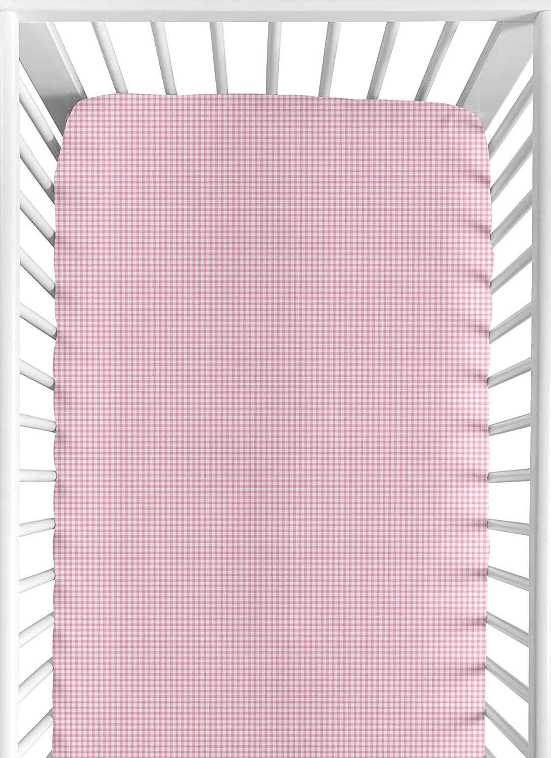 Amazon Com Sweet Jojo Designs Pink Toile Fitted Crib Sheet For Baby And Toddler Bedding Sets Gingham Print